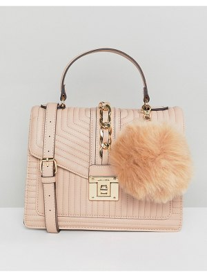 ALDO blush tote bag with top handle and chain detail