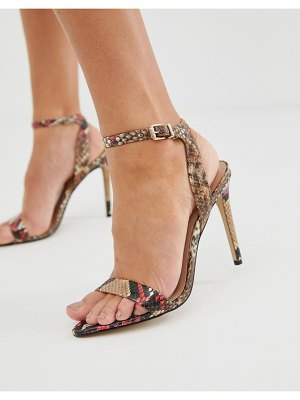 ALDO bravyan heeled sandals in red snake-multi
