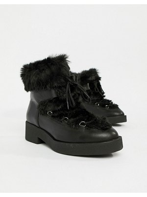 ALDO chunky faux fur leather ankle boots