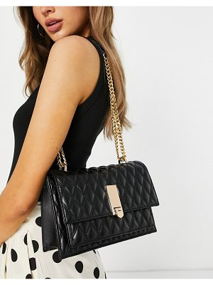 ALDO neralla cross body bag with gold hardware in black quilt