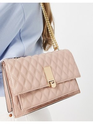 ALDO neralla cross body bag with gold hardware in pink quilt