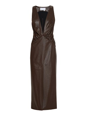 Aleksandre Akhalkatsishvili deep-v faux leather midi dress