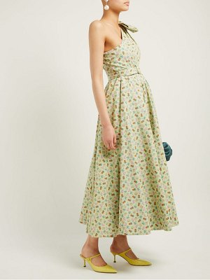 Alessandra Rich belted pineapple print cotton blend gown