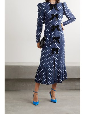 Alessandra Rich bow-embellished polka-dot silk crepe de chine midi dress