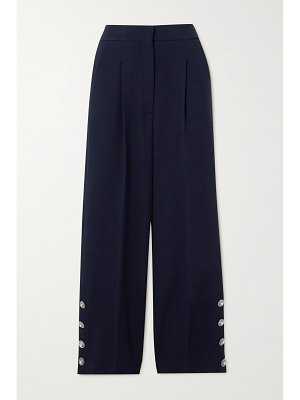 Alessandra Rich button-embellished pleated wool-blend crepe wide-leg pants