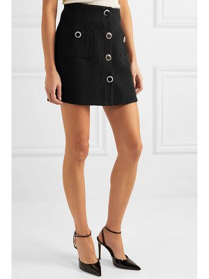 Alessandra Rich button-embellished wool-blend tweed mini skirt