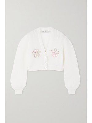 Alessandra Rich cropped embellished mohair-blend cardigan
