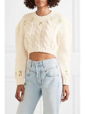 Alessandra Rich cropped embroidered cable-knit alpaca-blend sweater
