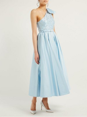 Alessandra Rich crystal bodice one shoulder cotton blend gown