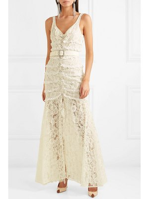 Alessandra Rich crystal-embellished button-detailed cotton-blend lace gown
