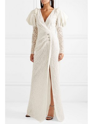 Alessandra Rich crystal-embellished cotton-blend lace gown - off-white