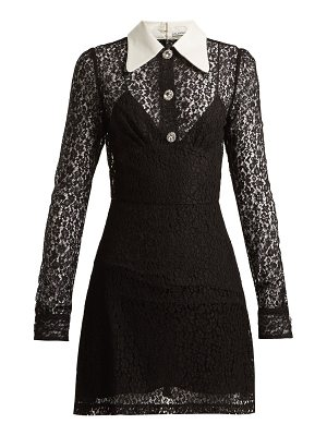 Alessandra Rich Crystal-embellished floral-lace dress