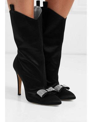 Alessandra Rich crystal-embellished satin ankle boots