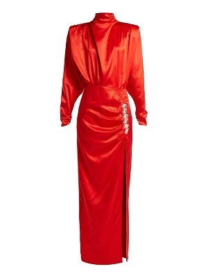 Alessandra Rich Crystal Embellished Silk Satin Gown