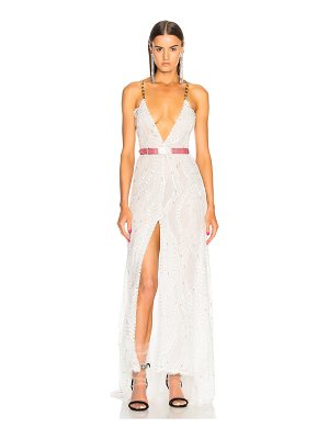 Alessandra Rich Crystal Embroidered Plunging Lace Gown