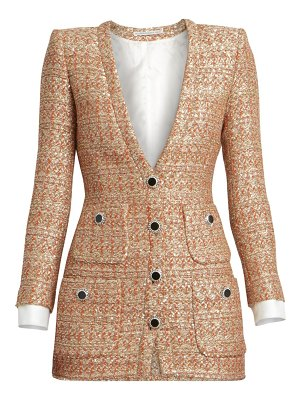 Alessandra Rich dressing for pleasure v-neck sequin tweed mini dress