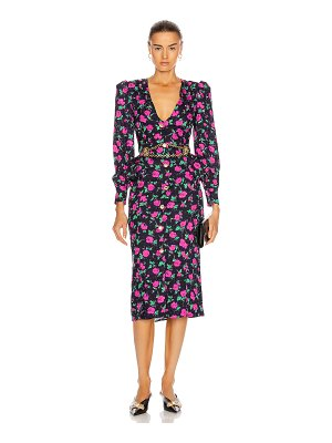 Alessandra Rich floral v neck silk dress with crystal buttons