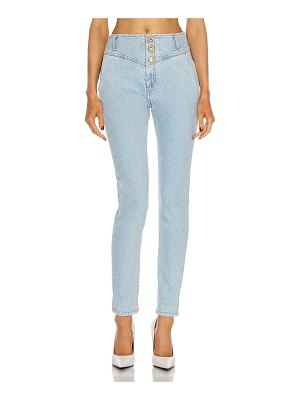 Alessandra Rich high waisted jeans with crystal buttons