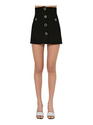 Alessandra Rich Lacquered button tweed mini skirt