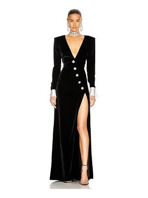 Alessandra Rich long velvet dress with crystal buttons