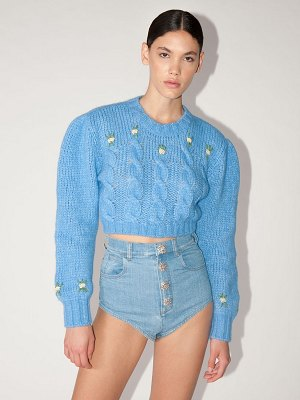 Alessandra Rich Lvr exclusive cropped wool knit sweater
