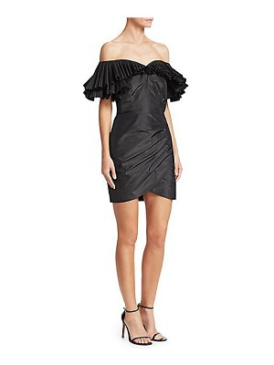 Alessandra Rich off-the-shoulder pleated & ruched silk taffeta butterfly sheath dress