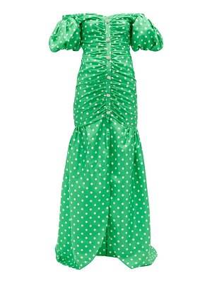 Alessandra Rich off-the-shoulder polka-dot silk gown