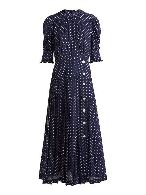 Alessandra Rich Polka Dot Print Pleated Silk Dress