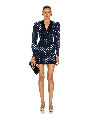 Alessandra Rich polka dot silk mini dress with collar and bow