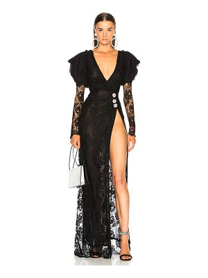 Alessandra Rich Puff Sleeve Lace Gown