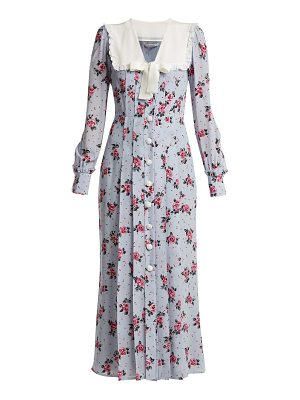 Alessandra Rich Rose Print Frill Trimmed Silk Dress