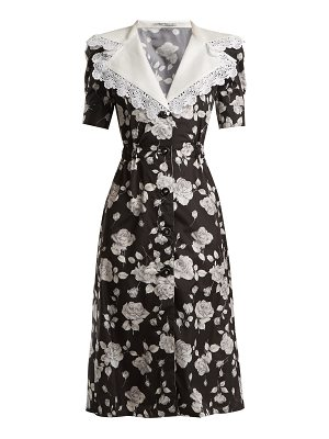 Alessandra Rich Rose Print Lace Trimmed Dress