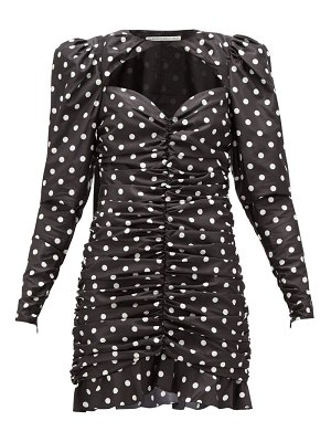Alessandra Rich ruched polka-dot silk-taffeta mini dress