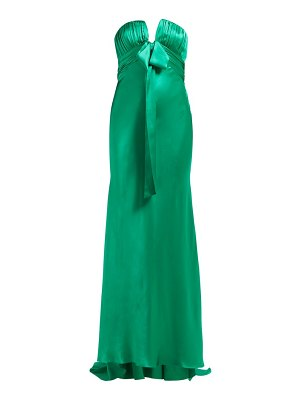 Alessandra Rich ruched strapless silk-charmeuse gown