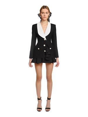 Alessandra Rich Ruffled double face wool blazer dress