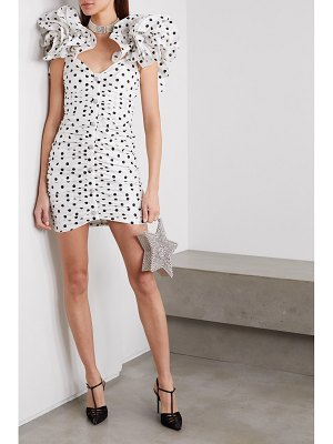 Alessandra Rich ruffled ruched polka-dot silk-taffeta mini dress