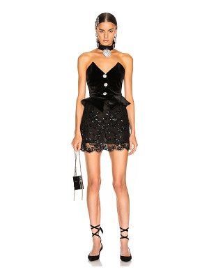 Alessandra Rich sequin velvet & lace bustier mini dress