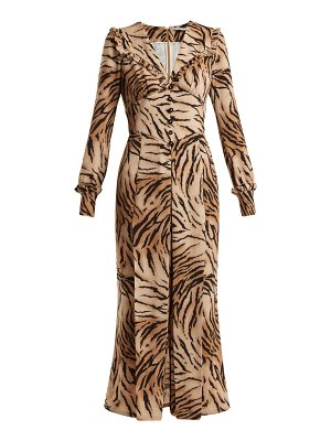 Alessandra Rich Tiger-print V-neck dress