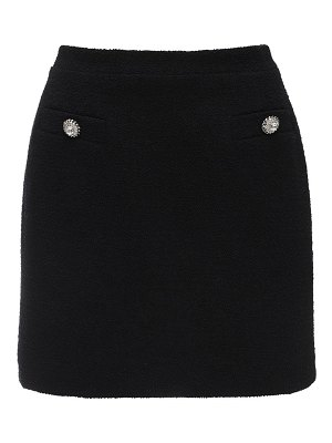 Alessandra Rich Tweed mini skirt w/ crystal buttons