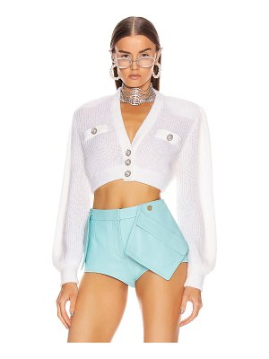 Alessandra Rich wool crystal button crop cardigan