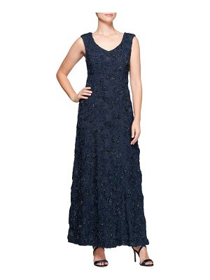 Alex Evenings beaded rosette lace gown