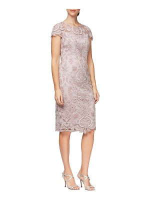 Alex Evenings embroidered mesh cocktail dress