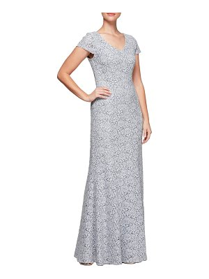 Alex Evenings floral corded lace evening dress