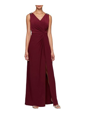 Alex Evenings jeweled shoulder twist front gown