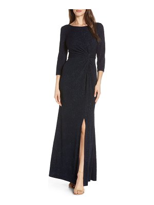 Alex Evenings knot front sequin jacquard evening dress