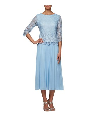 Alex Evenings lace & tulle popover dress