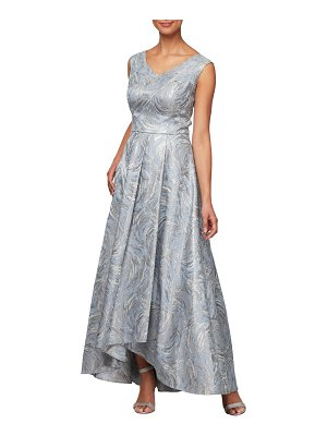 Alex Evenings metallic swirl high/low evening dress