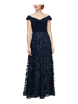 Alex Evenings mixed media off the shoulder gown