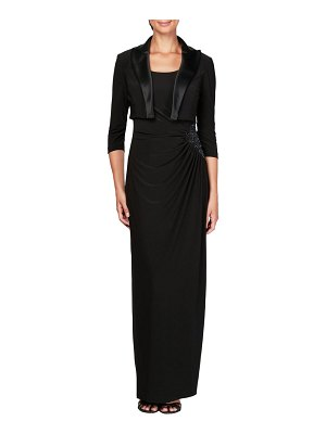 Alex Evenings ruched maxi dress & jacket