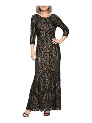 Alex Evenings sequin embroidered mesh a-line gown